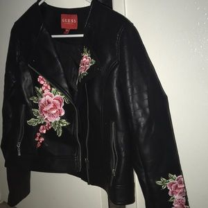 Guess Jackets & Coats - black Guess leather jacket with embroidered roses